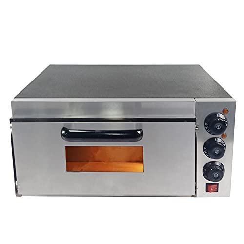 T-CAT Horno eléctrico para pizza con 1 cámara, horno para pizza, horno para pizzas, horno para gastronomía, 2000 W, 50 – 350 °C, base refractaria