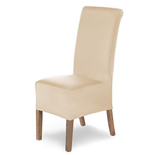 SCHEFFLER-Home Stretch Stuhlhusse Lena, 6er Set elastische Stuhlabdeckungen Beige, Stuhlhussen Schwingstühle, Spannbezug mit Gummiband, Elegante Stuhlbezüge