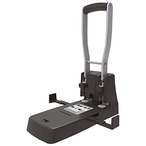 D.RECT 1500 Locher groß | 150 Blatt | Registraturlocher | Kraftlocher | Anschlagschiene mit Formatvorgaben | Bürolocher Papierlocher | 2-fach Hochleistungs Lochung schwarz