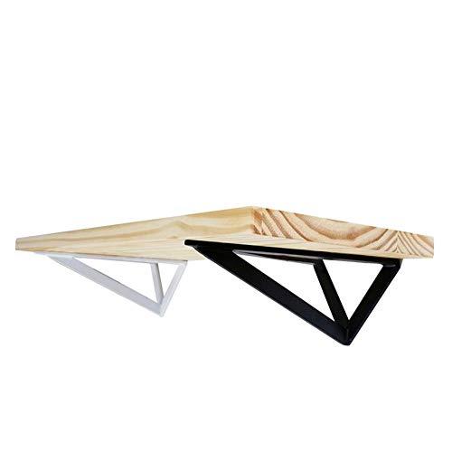 KaDz Soporte de estante fijo estante soporte de pared triángulo diseño nórdico DIY estantería de almacenamiento sin tabla de madera hierro, negro, 20cm/8in