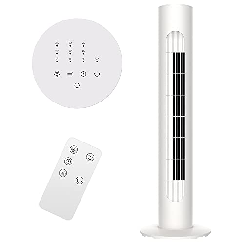 """MYLEK Electric Tower Fan Oscillating 30"""" - 7 Countdown Hour Timer, 45w, 3 Speed Settings, 3 Modes, Quiet Operation, Lightweight Design with Remote Control - White"""
