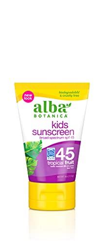Alba Botanica Kids Sunscreen Lotion, SPF 45, Tropical Fruit, 4 Oz