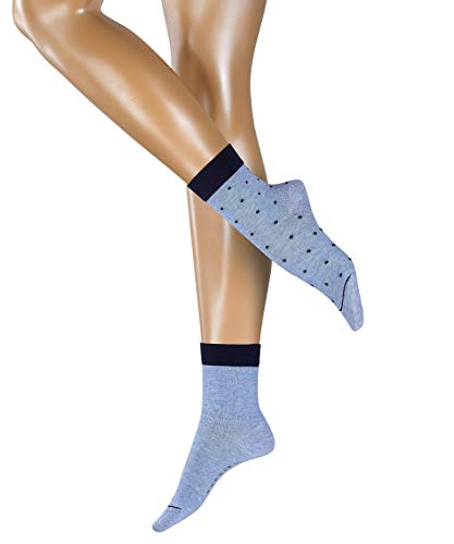 ESPRIT Damen Socken Small Dots 2er Pack - 80% Baumwolle, 2 Paar, Blau (Light Denim 6668), Größe: 35-38