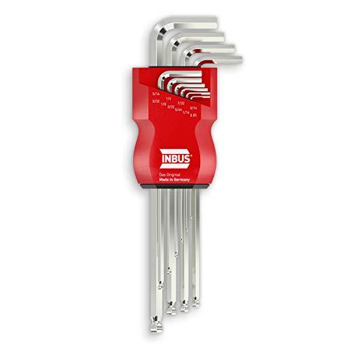 "INBUS® 70419 Inbusschlüssel Set (Zoll) 10tlg, 0.05–5/16\"", mit Kugelkopf — Made in Germany"