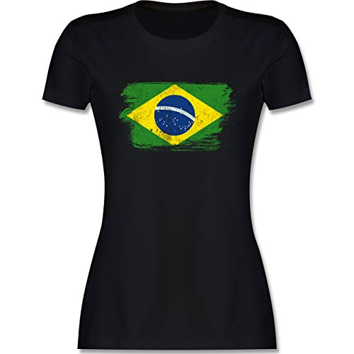 Handball WM 2021 - Brasilien Vintage - M - Schwarz - brasilien Tshirt - L191 - Tailliertes Tshirt für Damen und Frauen T-Shirt