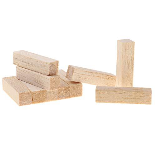 chiwanji 10 Piezas de Bloques de Talla de 50/80 Mm Kit de Talla de Madera DIY Bloque de Balsa para Niños Construcción de Modelos de Rasguño, Prototipos Arquite - 80mm