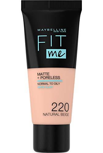 Maybelline New York FitMe Matte & Poreless Nr 220 Natural Beige, 1er Pack (1 x 30 ml)