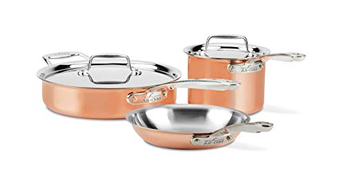 All-Clad Copper C4005 C4 5 Piece Cookware Set