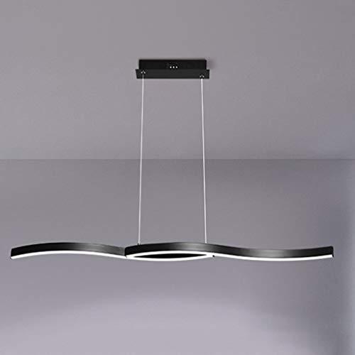 Pendelleuchte LED Hängeleuchte Dimmbar Pendellampe Rechteckig esstisch mit Fernbedienung 33w Moderne Hängelampe Kronleuchter Schlafzimmer Höhenverstellbar Deckenleuchte Esszimmer lampe (Schwarz 120cm)
