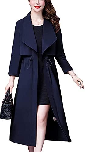 fgsdd Women Elegant Draw Waist Big Lapel Mid Long Trench Coat Button Up Jackets Windbreaker Outwear