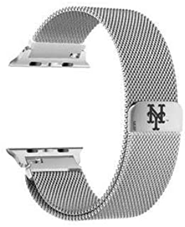 GAME TIME New York Mets Stainless Steel Watch Band Compatible with Apple Watch 42mm/44mm
