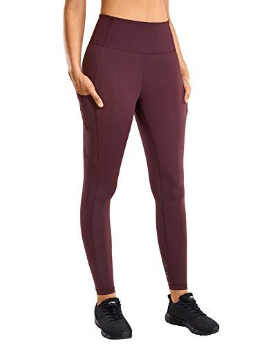 CRZ YOGA Mujer Naked Feeling Leggings Deportivas Cintura Alta Yoga Fitness Pantalones con Bolsillo-63cm Adobe Oscuro New2 36