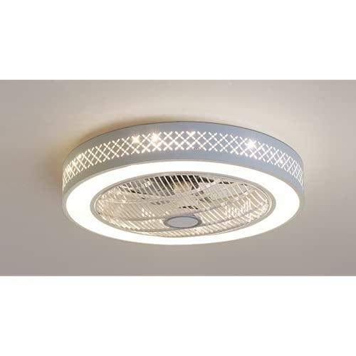 Led Lámpara De Techo Sala De Estar,Plafon De Techo Para Dormitorio,Ventilador Enciende Lámparas Cálidas Modernas 58Cm Círculo De Cuadrícula