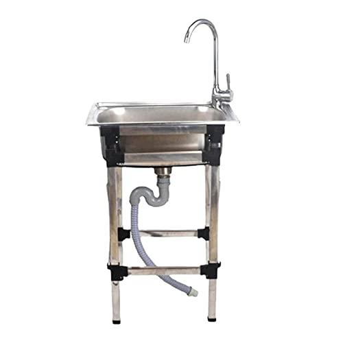 Accesorios De Cocina Lavabo Portátil Lavar Platos De Un Solo Canal Marco De Soporte Piso Fregadero Simple con Soporte Piso Uso del Hotel