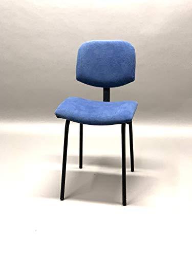 ADDECOR - Silla Brasil - Hecha en Madera Maciza Estructura Metálica - Medidas 45 × 45 × 85 cm - Tapizado Color Azul o Amarillo - Silla de Diseño - Muebles Auxiliares