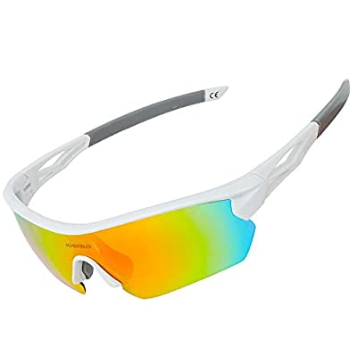 JOGVELO Polarized Sports Sunglasses,Cycling Glasses Men with 5 Interchangeable Lenes, White