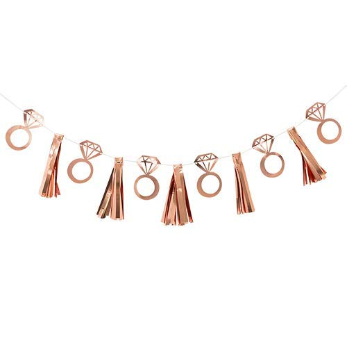 Party Hub Rose Gold Ring Tassel Banner for Bachelorette Decoration Bride to Be Decoration