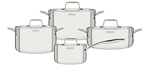Tramontina 65140/056 Grano Batterie de cuisine 4 pièces en acier inoxydable 18/10 + 3 casseroles + 1 casserole tous feux
