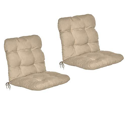 Beautissu Set de 2 Cojines sillas Jardin Flair NL - Cojín para sillas de terraza o Cojines Exterior con Respaldo bajo - 100x50x8 cm - Relleno de Copos de gomaespuma - Natural