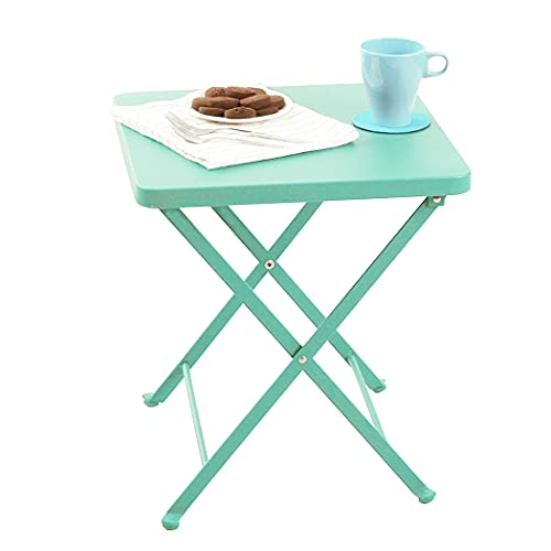 PHI VILLA Folding Side Table, Foldable Coffee Table, Outdoor Garden Table, Small Square Patio Table - Green