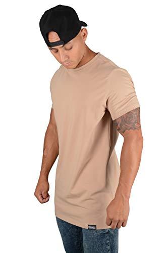 YoungLA Mens Minimalist Fitted T-Shirts   Long Drop Cut Tee   Workout Gym 411 Khaki M