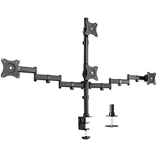 VIVO Triple Monitor Adjustable Mount, Articulating Stand for 3 LCD Screens up to 24 inches (STAND-V003M)