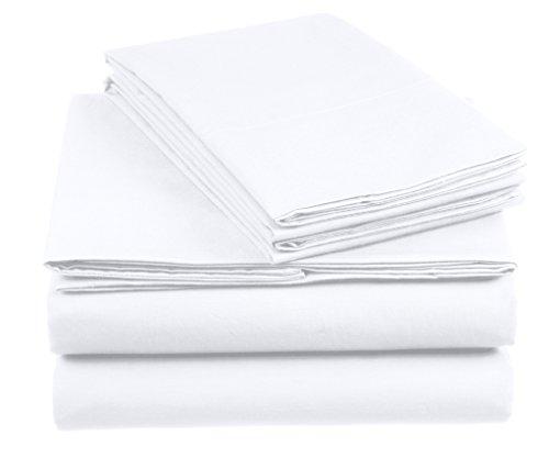Amazon Basics AB 200TC Cotton - Light, 100% Baumwolle, Weiß, 155 x 200 cm & 2 Kissenbezüge 80 x 80 cm
