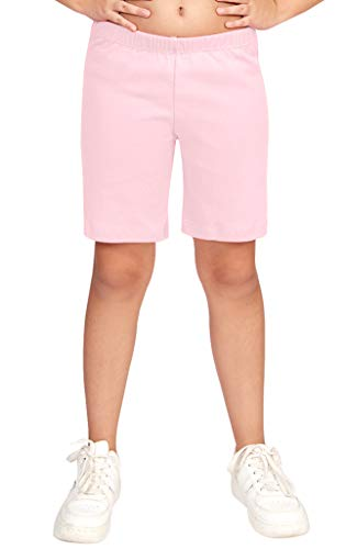 CAOMP Girls' Bike Short 100% Organic Cotton for Sports and Under Skirts (11-12, Pink)