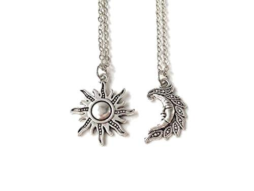 Royal Swan Silver Sun and Moon Necklaces, Sun Jewellery, Moon Jewellery, Two Necklaces, Simple Necklaces, Unisex Jewelry, Friendship Gifts, Pagan,Boho, Gift Bag