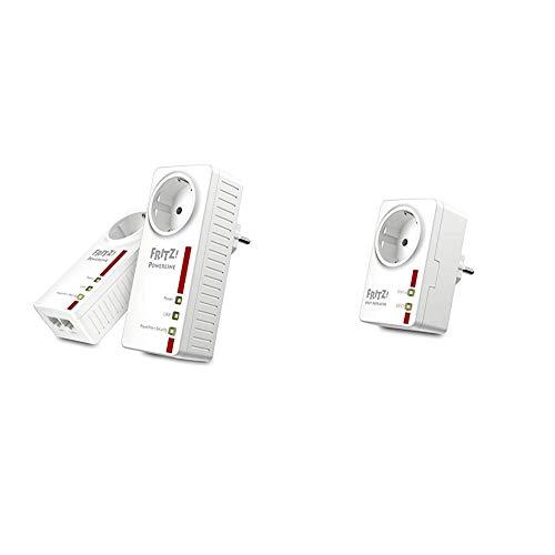 AVM Fritz! Powerline 1220E Set (1,200 MBit/s, 2x Gigabit-LAN je Adapter, deutschsprachige Version, weiß) & FRITZ!DECT Repeater 100 (Erhöht DECT-Reichweite) deutschsprachige Version