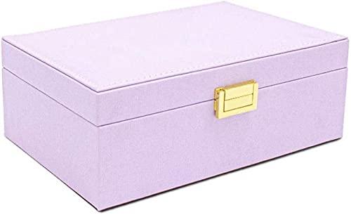 ZJDM Joyero, 2 Capas Caja de Almacenamiento de joyería de Cuero PU con Espejo y Cerradura, para Guardar Anillos, Pulseras, Pendientes, Reloj