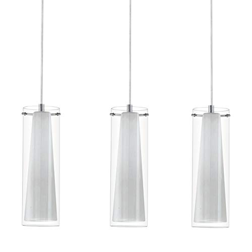 EGLO Pendellampe Pinto, 3 flammige Pendelleuchte, Material: Stahl, Farbe: chrom, Glas: klar, opal matt, weiß, Fassung: E27