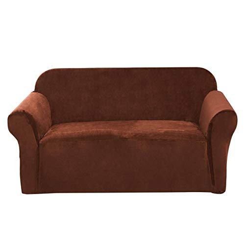 Argstar Velvet Oversized Couch Slipcover, Stylish Furniture Cover for Leather Sofas, Stretchable and Elastic Sofa Protector Covers, Walnut Brown