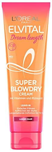 L'Oréal Paris Elvital Hitzeschutz für langes, geschädigtes Haar, Leave-In Haarkur gegen Spliss, Anti Frizz und Anti Haarbruch, Ohne Ausspülen, Dream Length Super Blowdry Cream, 1 x 150 ml
