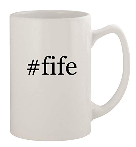 #fife - 14oz Ceramic White Statesman Coffee Mug, White