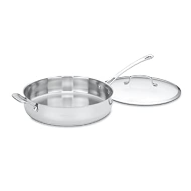 Cuisinart 433-30H Contour Stainless 5-Quart Saute Pan with Helper Handle and Glass Cover
