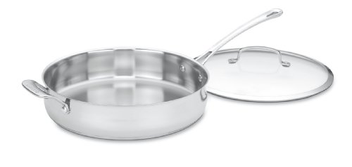 Cuisinart Contour Stainless 5-Quart Saute Pan with Helper Handle and Glass Cover,Silver
