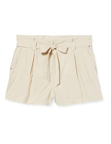 Superdry Desert Paper Bag Shorts Pantalones Cortos, Beige (Oat BRAN Rut), XS para Mujer
