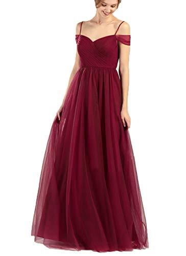 Wine Red Off The Shoulder Shoulder Tulle Wedding Bridesmaid Dress Long Formal Evening Party Dress for Women