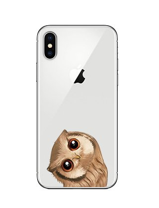 Blingy's iPhone X Case/iPhone Xs Case, Lovely Owl Style Transparent Clear Soft TPU Protective Case Compatible for iPhone X and iPhone Xs (Small Owl)