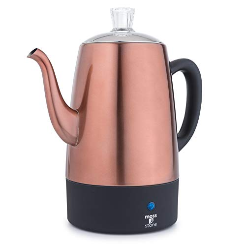 Moss & Stone Electric Coffee Percolator | Copper Body with Stainless Steel Lids Coffee Maker | Percolator Electric Pot - 10 Cups (Copper)