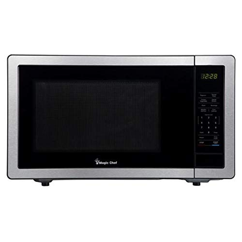 Magic Chef Stainless Steel 1.1 Cu. Ft. 1000W Countertop Microwave Oven with Push-Button Door