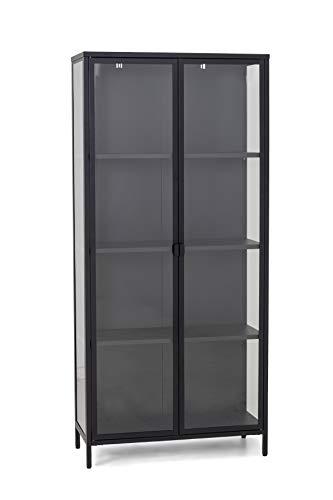 Homexperts Classic 03 Doppelvitrine, Metall, schwarz, B 80, H 180, T 40 cm