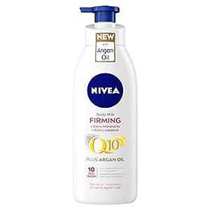 NIVEA Q10 Aceite de Argán Body Milk hidratante Reafirmante, Hidratante (1 x 400 ml), loción corporal para reafirmar la piel y mejorar su elasticidad en 10 días