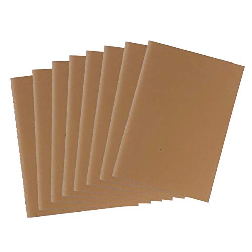 Satumu B6 Blank, Kraft Cover Journal Inserts Notebook Refills For 7 x 5 Inches Leather Journal, 8-Pack