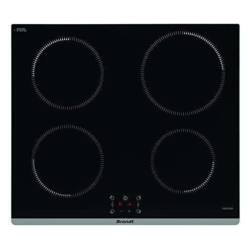 Brandt BPI6464B - Placa de inducción - Empotrable - 4 fuegos - 7200 W - 59 x 52 cm - Revestimiento de cristal - Fabricación francesa