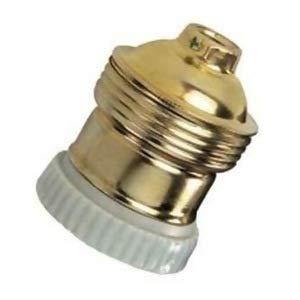 Portalámparas de latón E27 con arandela final de porcelana - Accesorios para lámparas