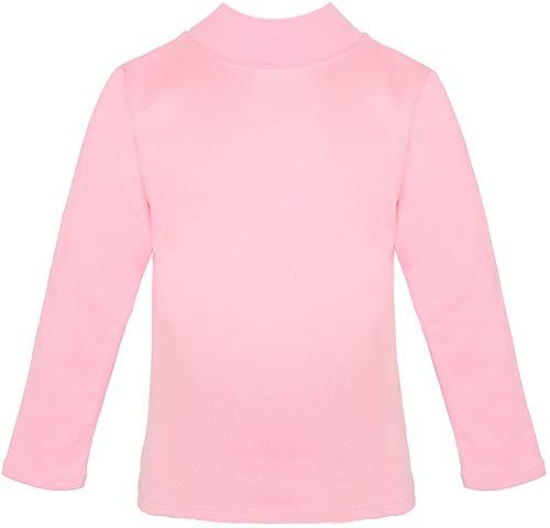 Lovetti Girls' Basic Long Sleeve Mock Turtleneck Cotton T-Shirt 8 Pink