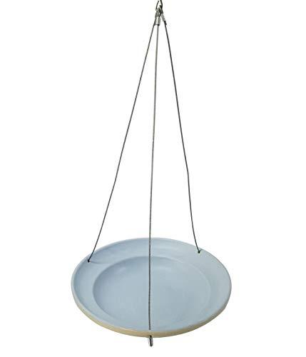 Dehner Natura Wildvogel-Tränke Stilo, Ø 25 cm, Höhe 5.5 cm, Steinzeug, blau