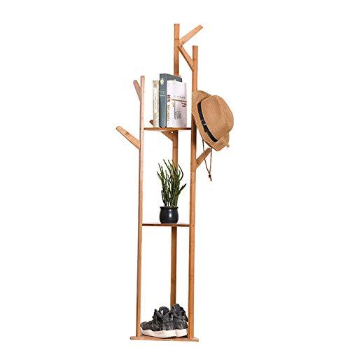 Perchero de 8 ganchos de bambú para abrigos, sombreros, ropa, bufanda, organizador en forma de árbol, para pasillo, dormitorio, hogar, oficina